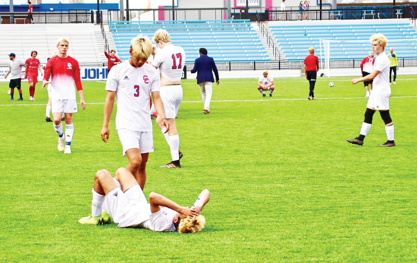 Cherry Creek's Cyrus Gulati lay on the ground after losing 2-0 in the state boys soccer championship game on May 1 at Weidner Field in Colorado Springs.