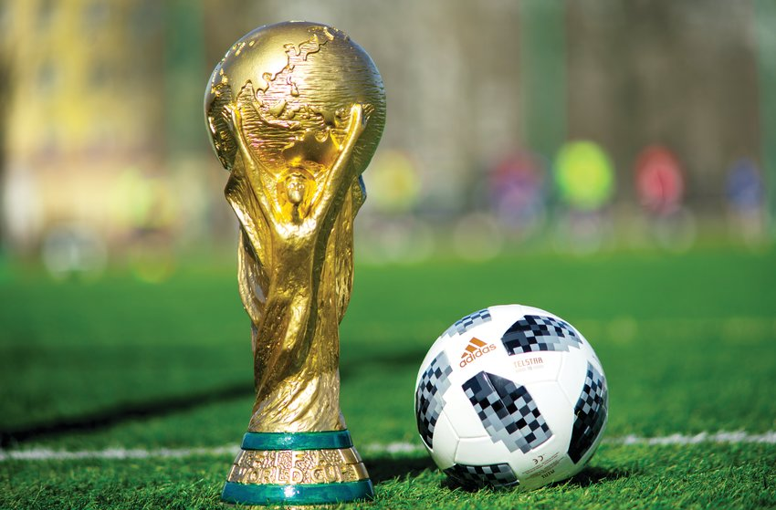 Trophy of the FIFA World Cup and official ball of FIFA World Cup 2018.