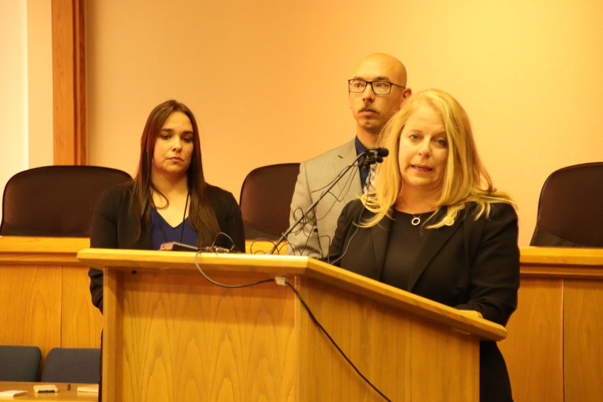Audrey Simkins, an analyst for the Colorado Bureau of Investigation, speaks about an update in a decades-old cold case during a press briefing Wednesday.