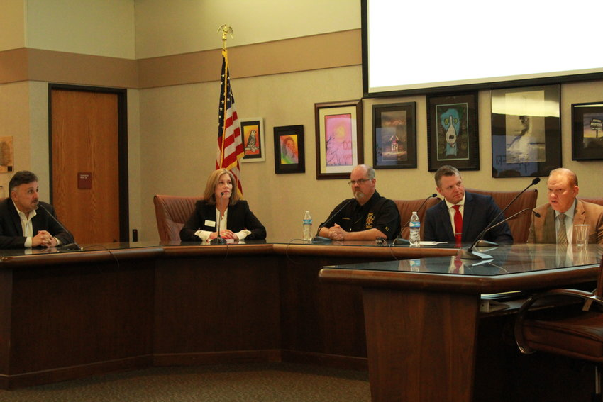 Frank DeAngelis, former Columbine High School principal Tammy Schiff, Jeffco Public Schools chief communications officer, John McDonald, director of safety and security for Jeffco Public Schools, Jason Glass, Jeffco Public Schools superintendent and Jeff Shrader, a Jeffco sheriff, field questions from the media about Sol Pais.