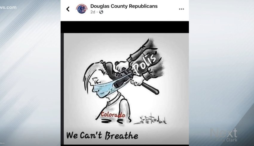 This cartoon was posted on Facebook by the Douglas County Republican Party, then later removed. The county party has since apologized.