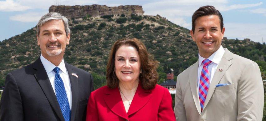 Douglas County Commissioners Roger Partridge, Lora Thomas and Abe Laydon.