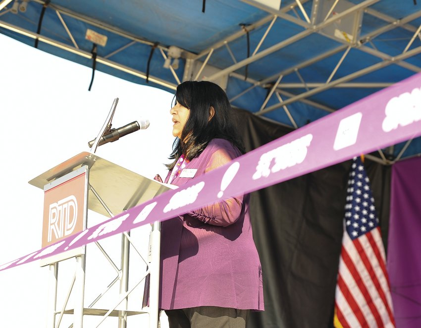 RTD Board of Directors' Chair Angie Rivera-Malpiede, delivers her remarks during the formal grand opening of the N Line, at the Eastlake rail station in Thornton, on Sept. 21.