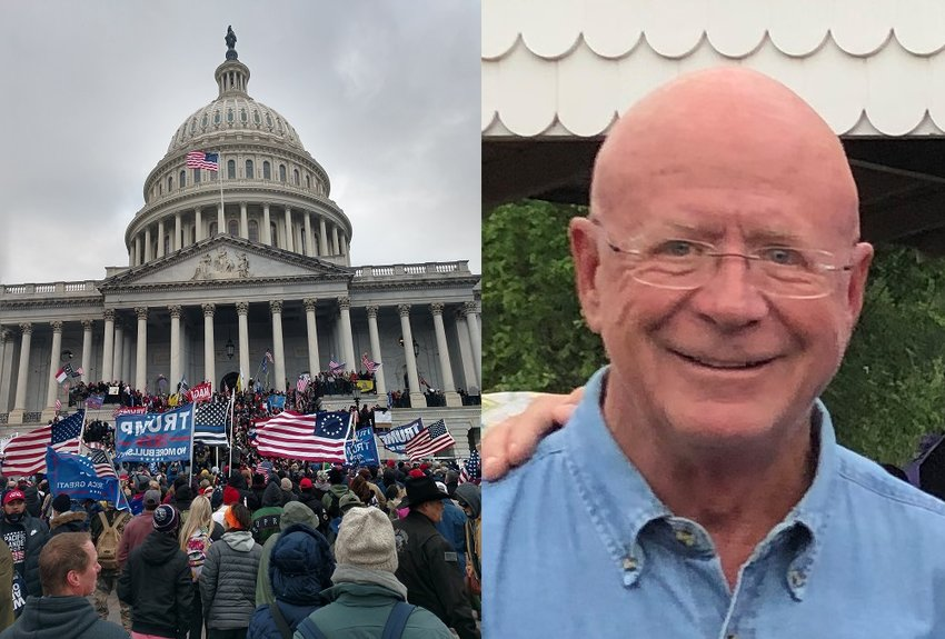 A photo provided by Colorado State Rep. Richard Champion shows protesters on the steps of the U.S. Capitol. A pro-Trump mob stormed the halls of Congress on Jan. 6 during a joint session to certify the Electoral College vote.