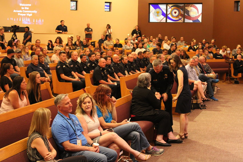 The scene at the June 22 vigil for Arvada Police Officer Gordon Beesley at Peace Lutheran Church.