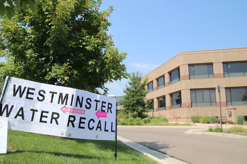 A pro-recall sign in front of Westminster City Hall on election day