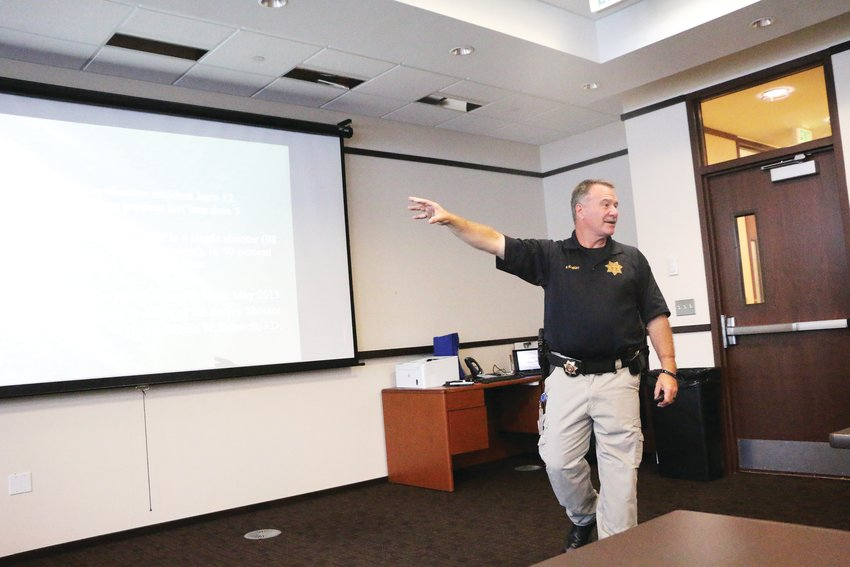 Douglas County Sheriff's Deputy Brian McKnight hosts an Active Threat Awareness Training class in Highlands Ranch on July 28.