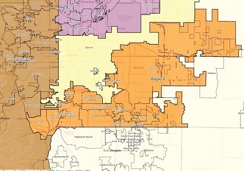 Proposed redistricting map issued Sept. 15 shows which congressional districts would include parts of Douglas, Arapahoe, Jefferson and Denver counties.