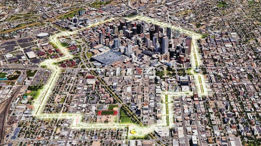 The proposed path of the 5280 Trail around downtown Denver.