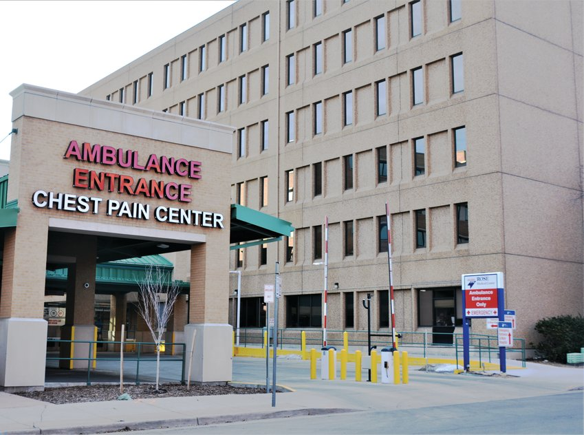 The ambulance entrance to the Chest Pain Center at Rose Medical Center in Denver, a HealthONE hospital, on Jan. 11, 2020.