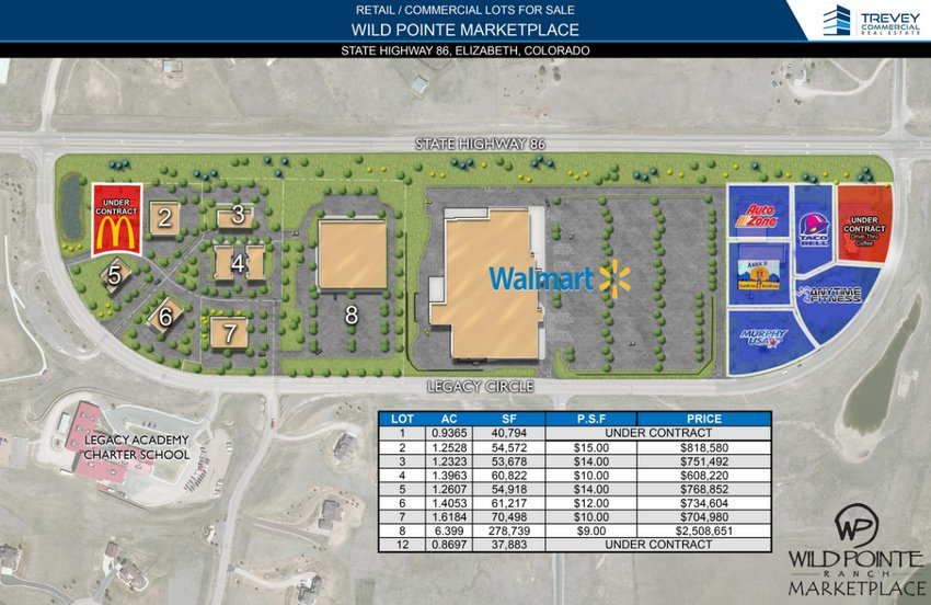 A map shows planned sites for new commercial construction near the Walmart in Elizabeth.