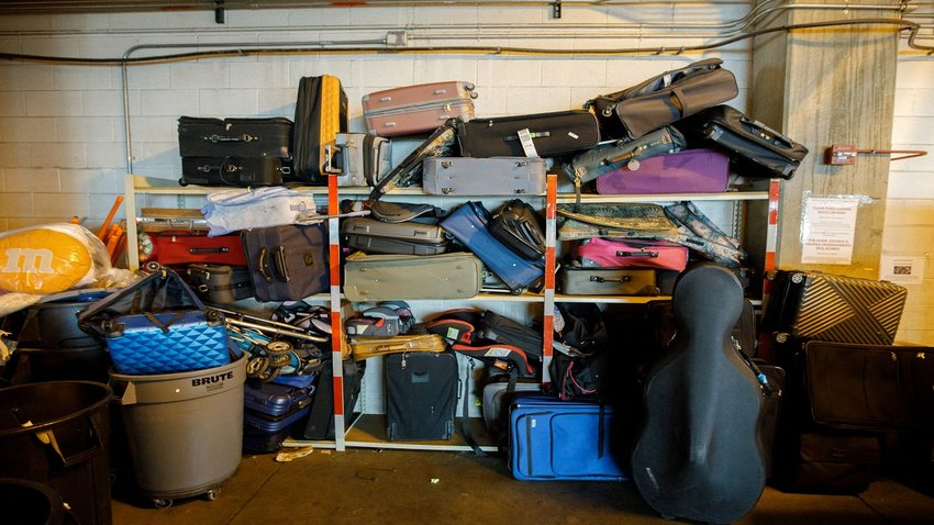 Piles of lost luggage sit waiting, stored on a shelf at Denver International Airport. Now, the airport plans to begin donating that luggage to the Denver Rescue Mission.