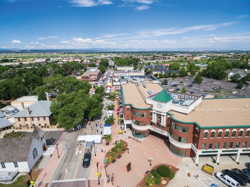 A 2015 aerial view of Mainstreet in downtown Parker.