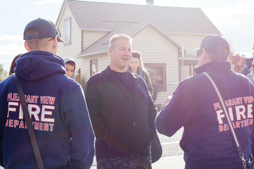Demetrios Fefes thanks Pleasant View Firefighters at Station 41 in Golden.