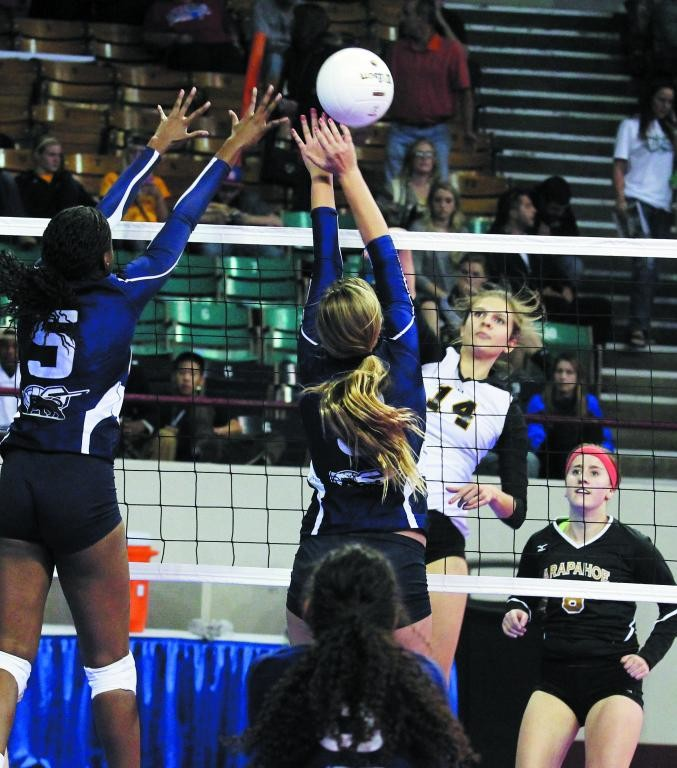 Arapahoe senior Whitney Krantz (14), shown here during state playoff action, is Colorado Community Media's South Metro Volleyball Player of the Year. File photo