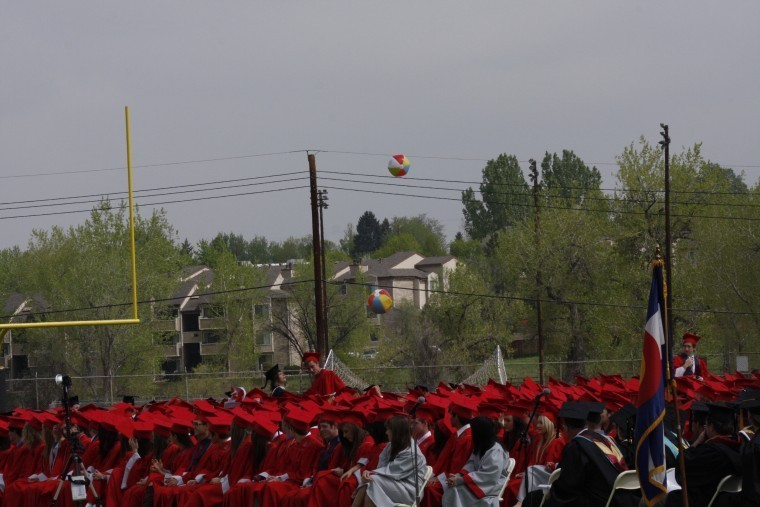 Although it wasn't on the program, two beach balls suddenly appeared and were batted around by the graduating seniors during the May 18 Heritage High School commencement ceremonies. Photo by Tom Munds