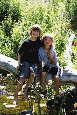 From left, Ryan Larese and Hayden Eppers, enjoy some free time during an environmental education program at Marcy Gulch Open Space in Highlands Ranch. Courtesy photo