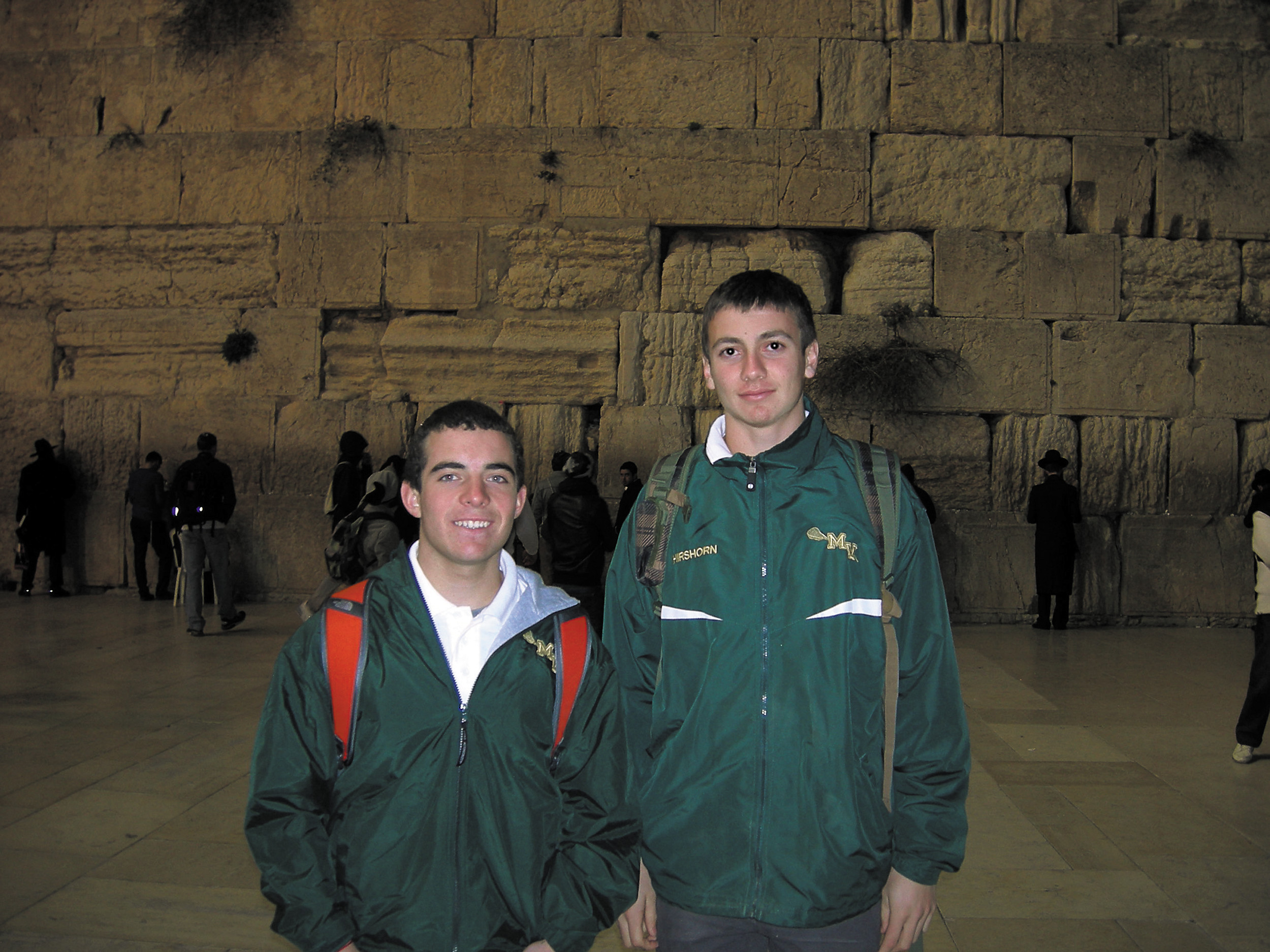 Andrew Medina, left, and Noah Hirshorn spend time together at the Western Wall in the Old City of Jerusalem.