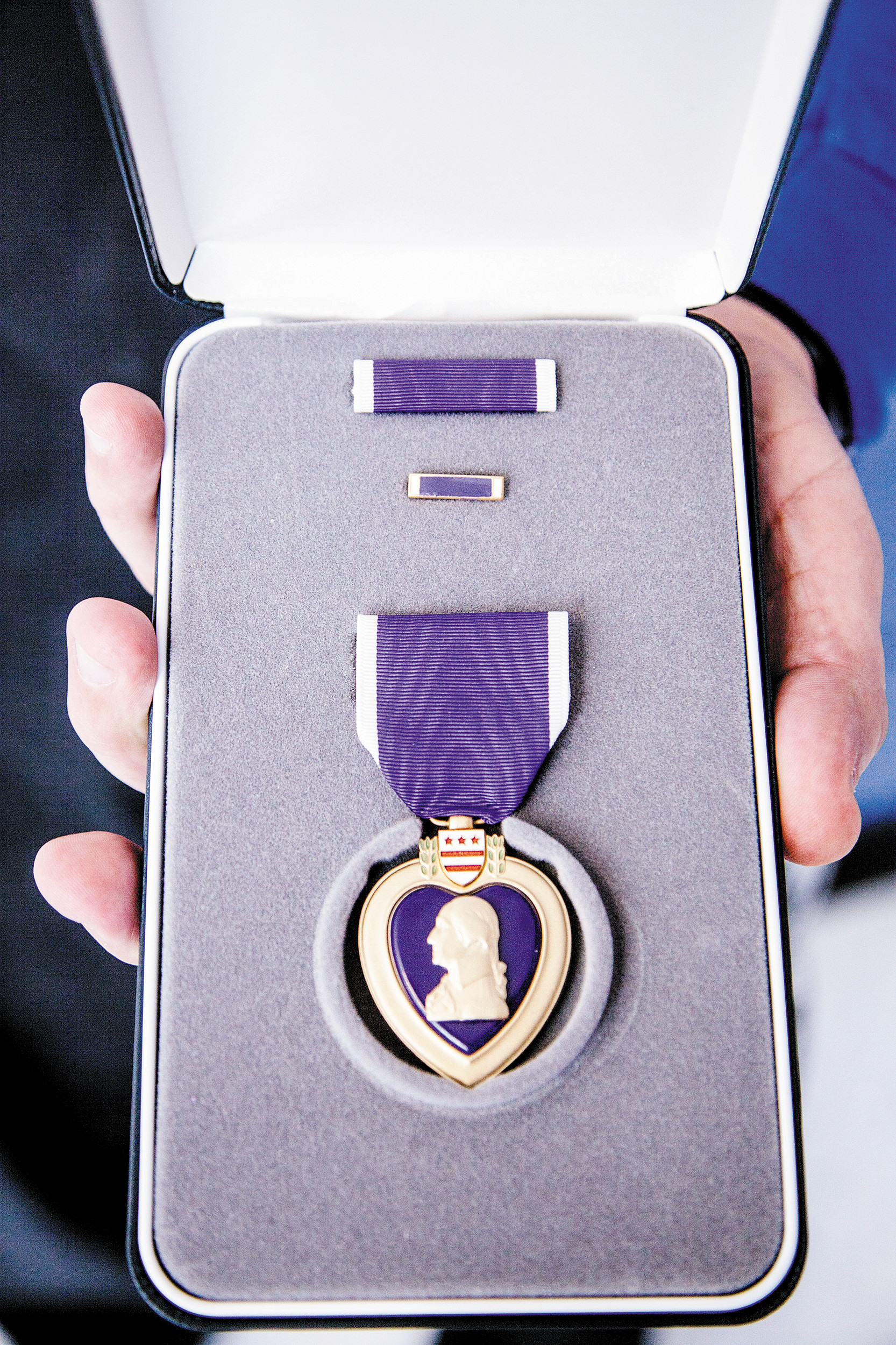 Brandon Davis was awarded the Purple Heart in February 2014.