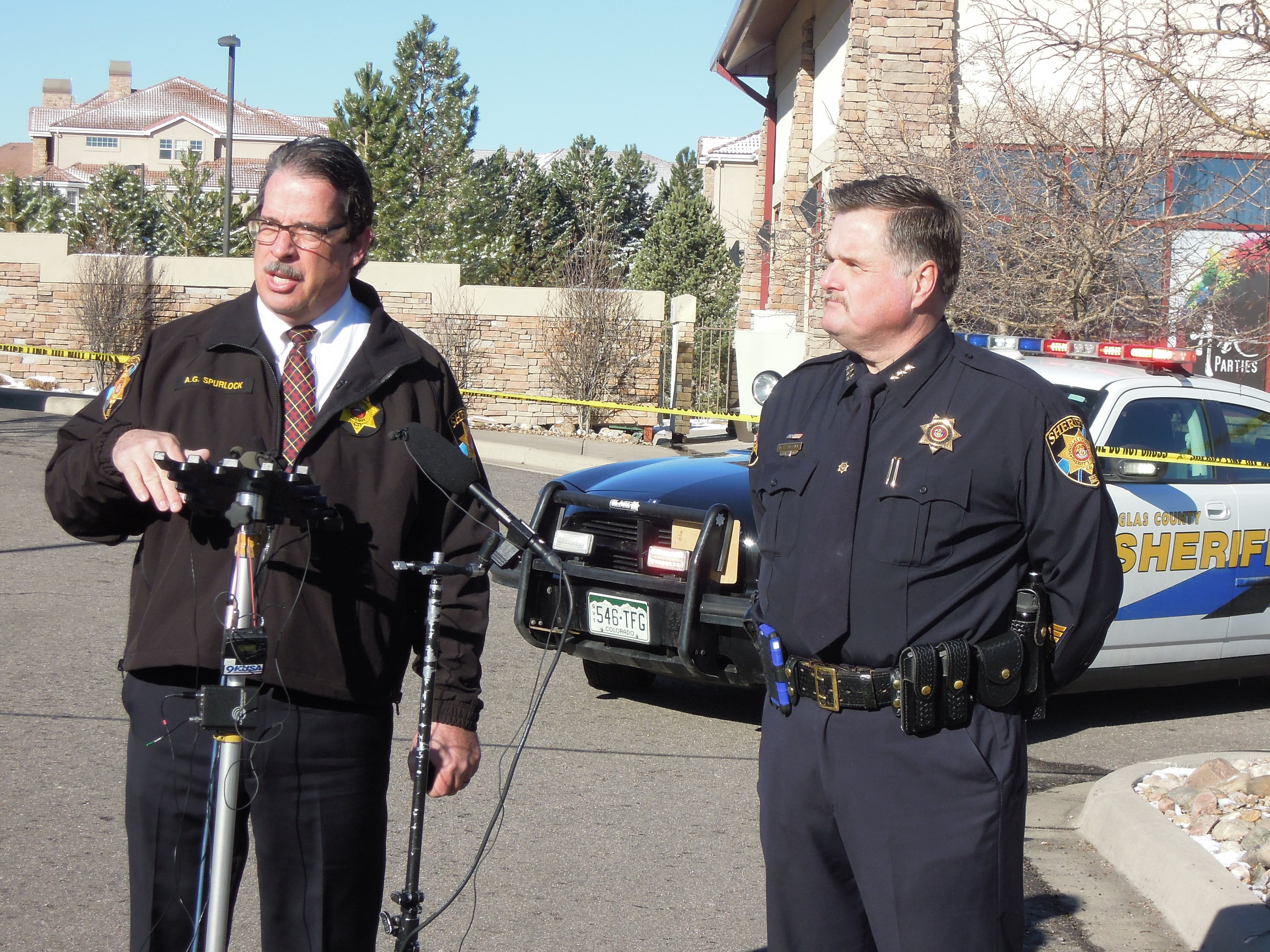 Douglas County Sheriff David Weaver, right, and Undersheriff Tony Spurlock addressed the media after the carjacking suspect was arrested the morning of March 12.