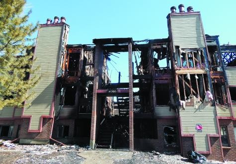 Authorities say arson is to blame for a three-alarm fire that completely destroyed a condo building and damaged another building next to it on March 4 at 8760 Corona St. in unincorporated Adams County.​