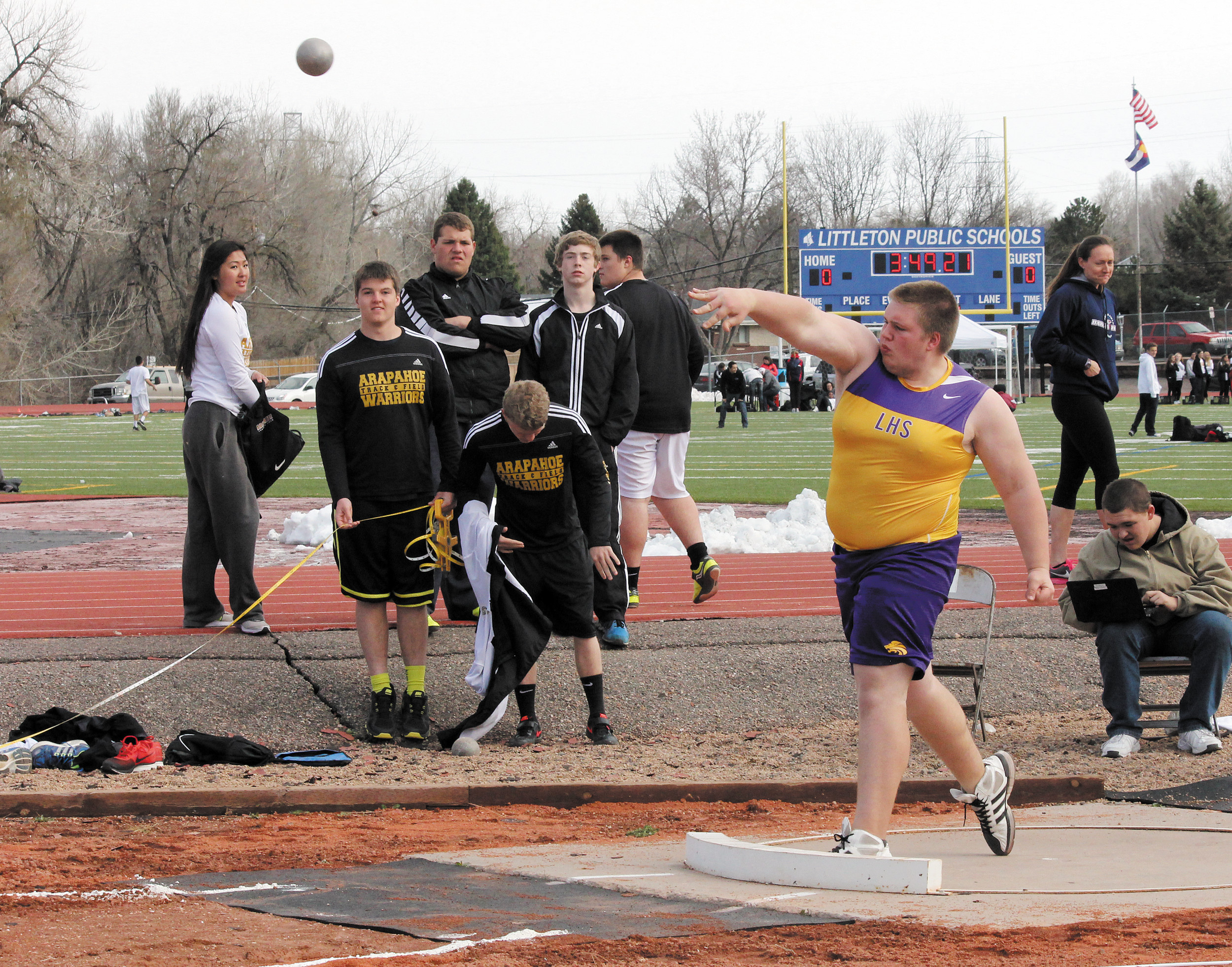 Littleton's Dave Bieber competes in the shot put event at the April 4 Littleton City Track Meet. Bieber finished 13th with a throw of 35 feet, 4 inches.