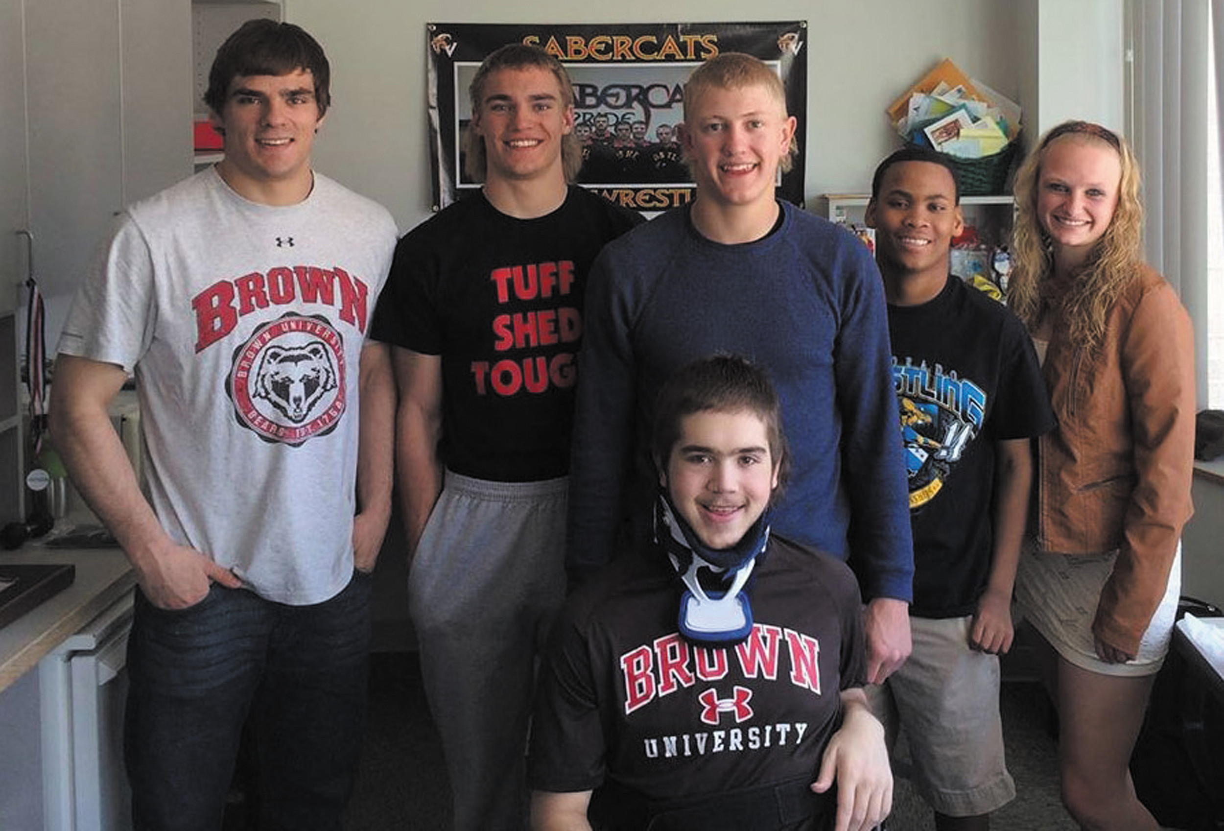 Castle View senior Joe Hunsaker, front center, had plenty of visits from friends and family during his 10-week stay at Craig Hospital. From left, 2012 CVHS graduate Gus Marker, CVHS junior Hudsen Marker, CVHS senior Kaleb Geiger, the Markers' younger brother, Ricky, and Becca Westlake.