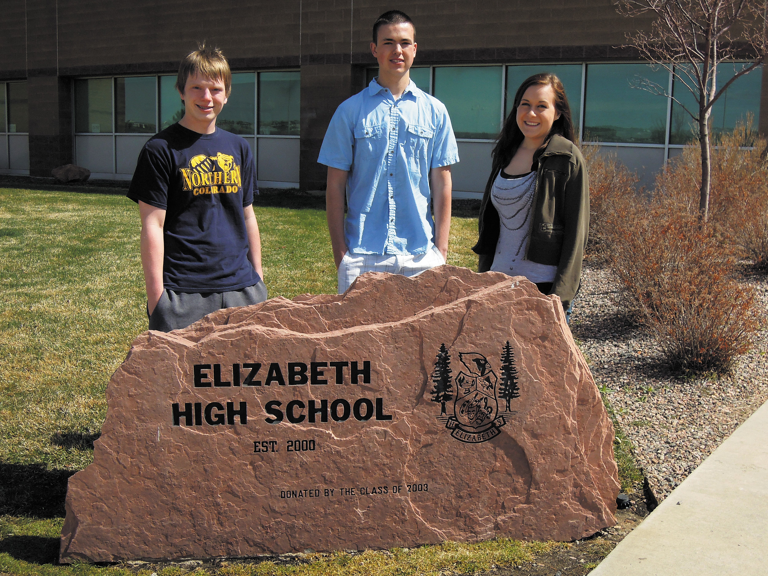 Elizabeth High School Future Business Leaders of America, from left, Zack Perry, Douglas Coulter and Aleigha Mace are headed to the State Conference on April 27 to present their study on the Town of Elizabeth's Water and Sewer Enterprise Fund.