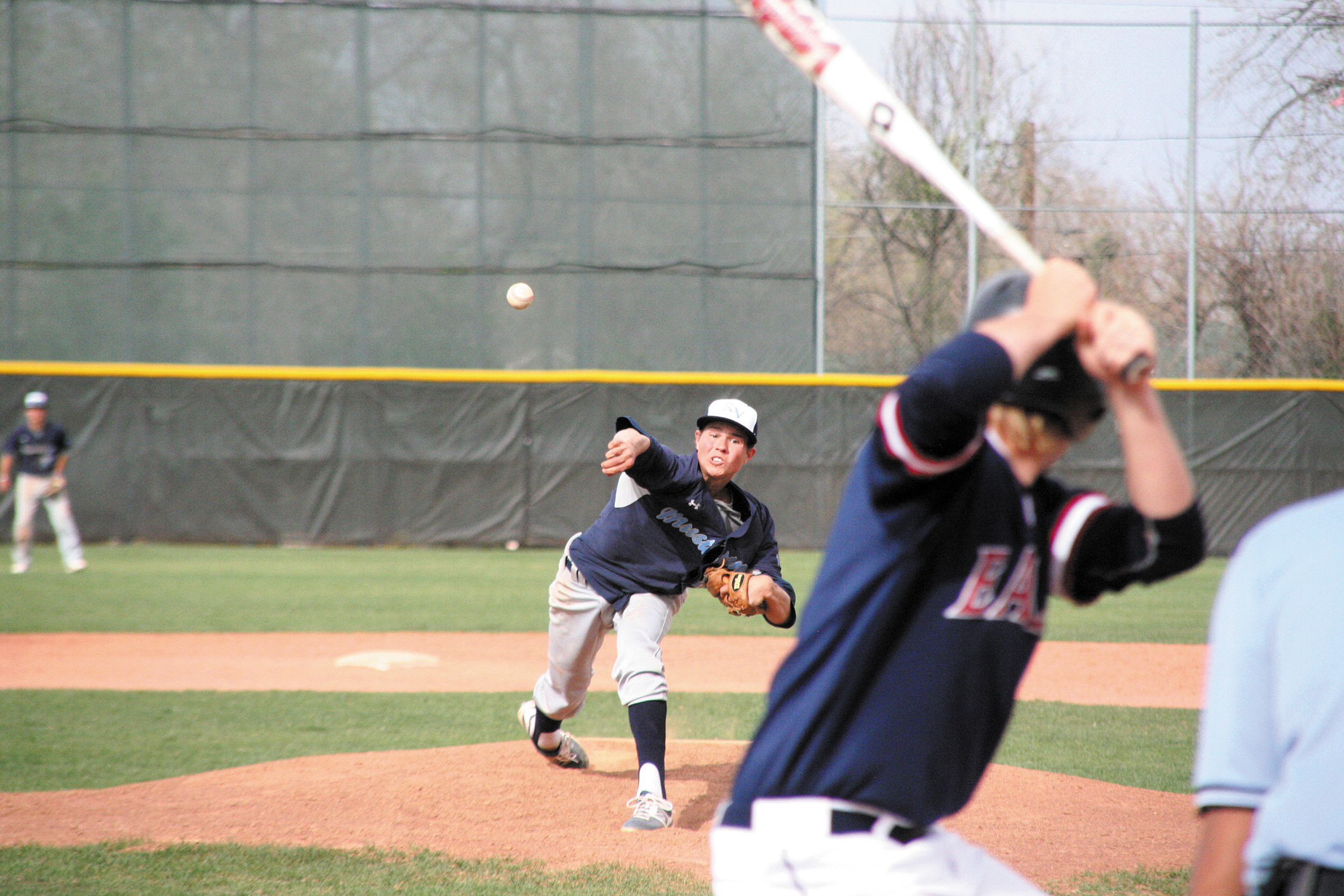 Ralston Valley senior pitcher Mitch Robinson serves up what was a nasty fastball for a strike, but the Mustangs were still outdone by Dakota Ridge 7-5 Saturday at All Star Park.