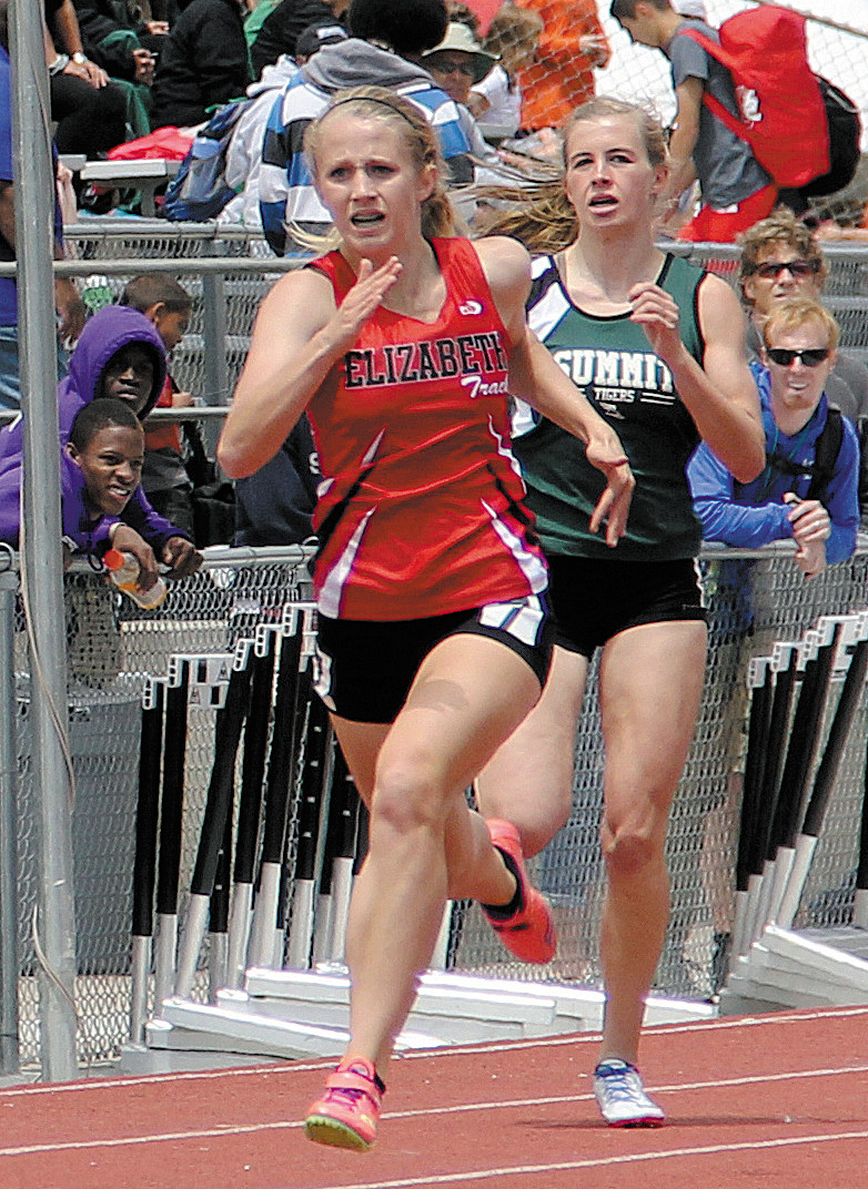 Elizabeth sophomore Tegan Alexander sprints to a second-place finish in the 200-meter prelims May 14 in Lakewood. Alexander was seeded fifth heading into the Class 4A finals, which were held later in the weekend.