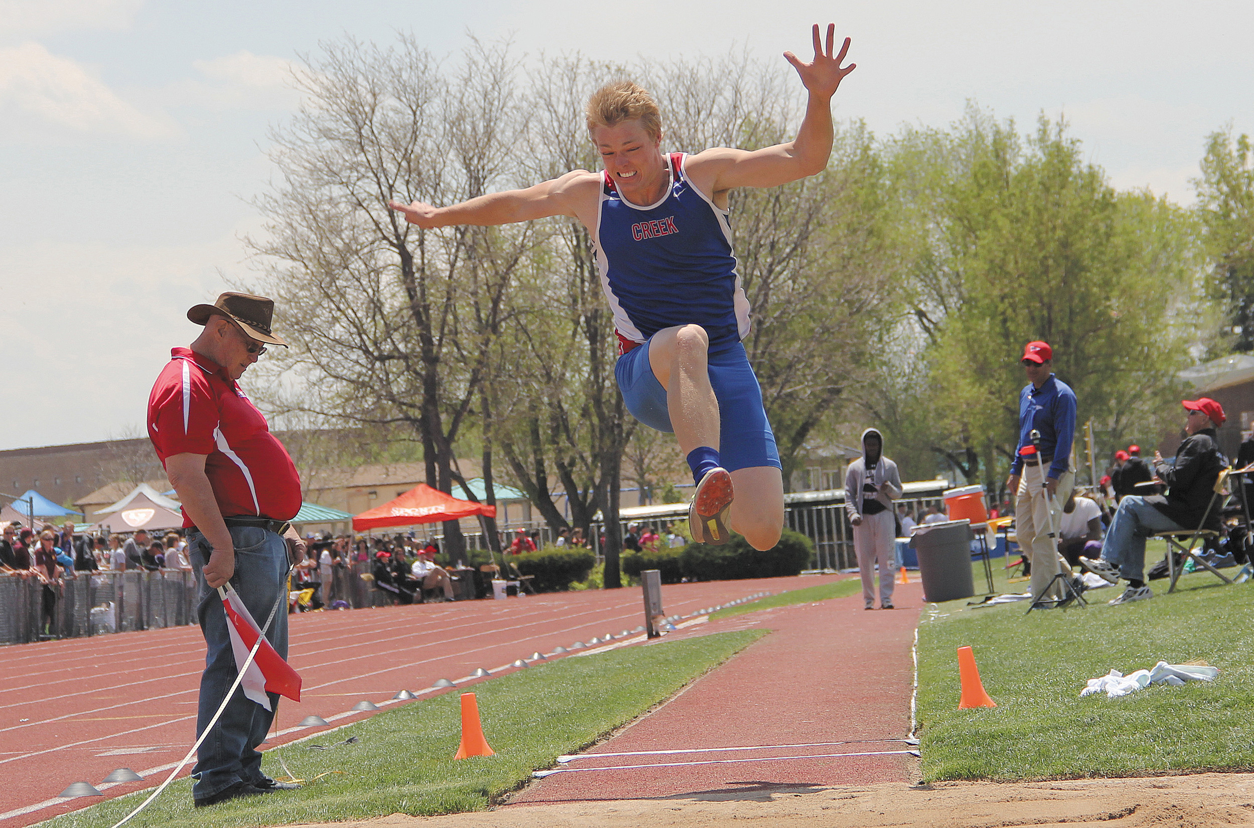 Cherry Creek's Jaeden Graham finished 14th in the long jump at the Class 5A track and field finals May 15 in Lakewood. Graham finished with a top jump of 20 feet, 5.5 inches.