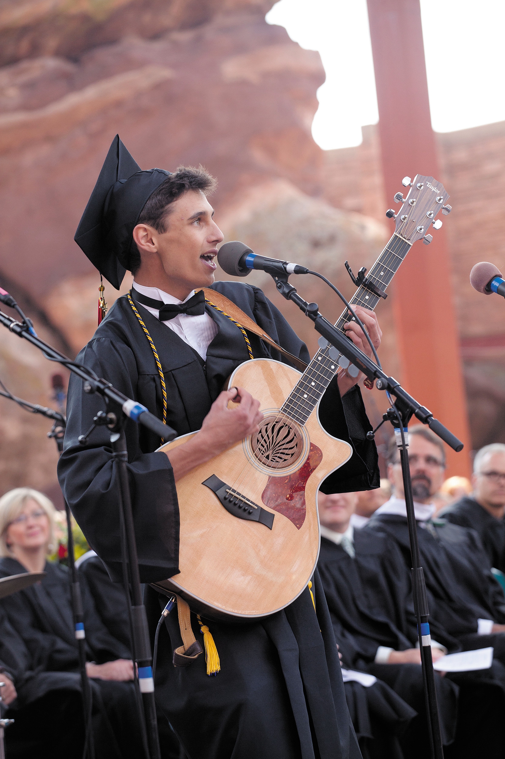 "Senior Evan Albert performs a song he wrote titled ""Timeless"" at Castle View High School's graduation ceremony at Red Rocks on May 21."