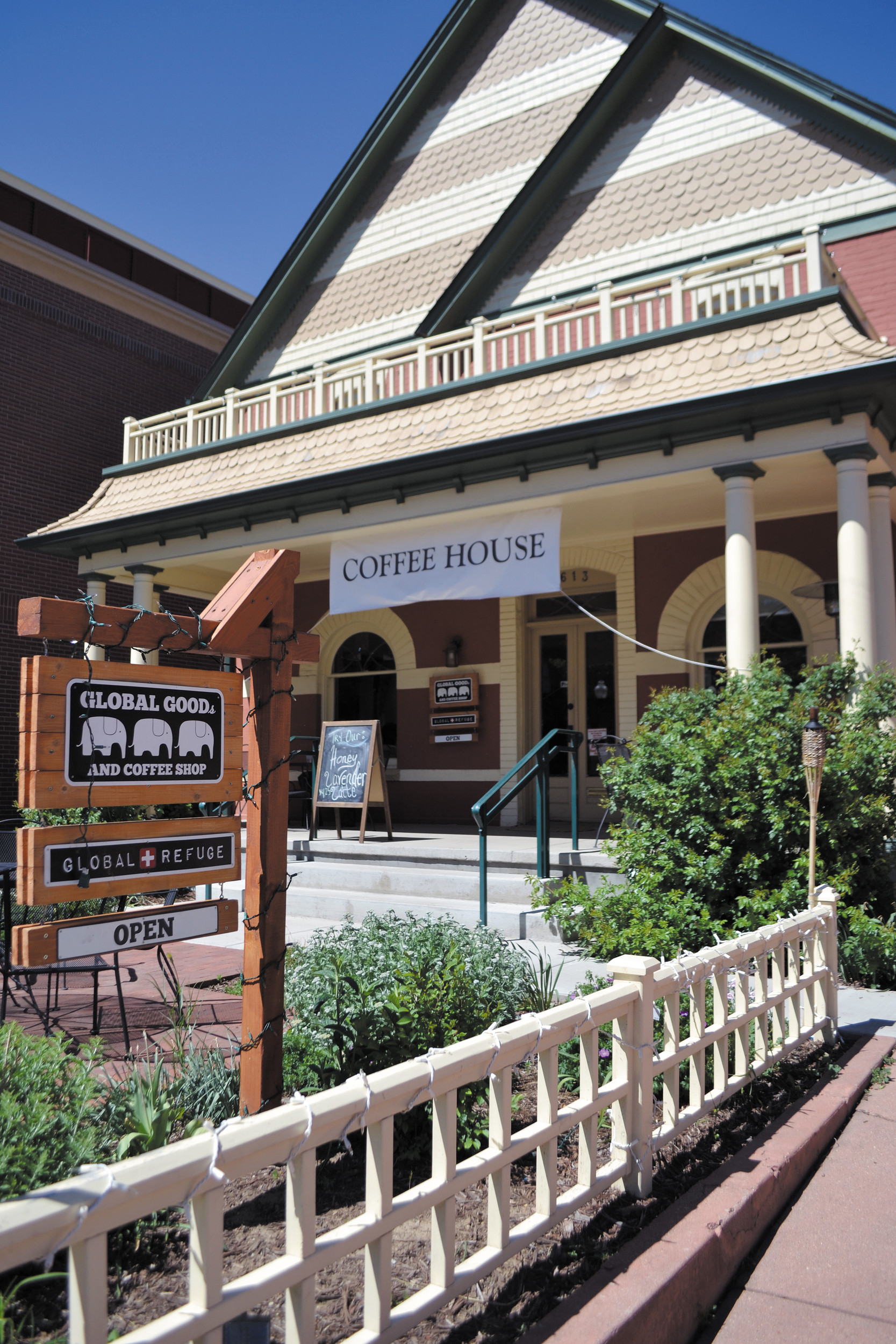 Located in the heart of Olde Town Arvada, in a large yellow house, the coffee house serves more than 100 customers who enjoy Global Goods' distinctive locale and handcrafted drinks.