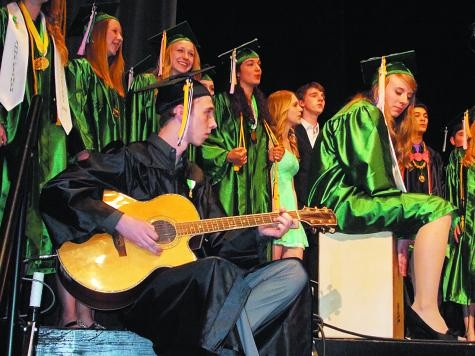 The Madrigals sang 'Pompeii' by Bastille as part of the opening ceremony at the Woodland Park High School 79th Commencement Exercise.