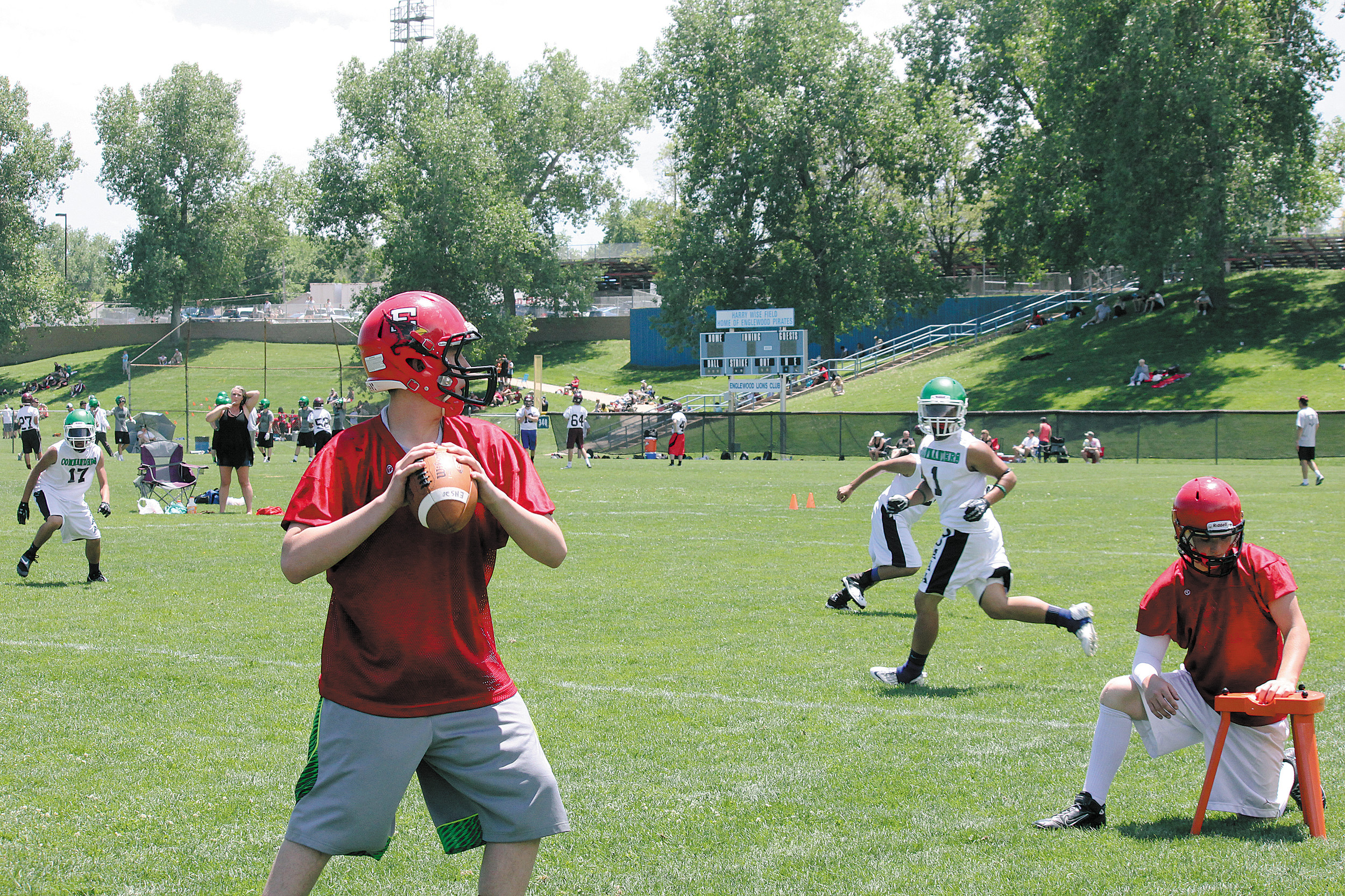 Elizabeth quarterback candidate Cameron Moon looks for a receiver during the 7-on-7 all-passing tournament May 31 at Englewood High School. The Cardinals advanced to the consolation finals, and wound up fourth in the 15-school field.