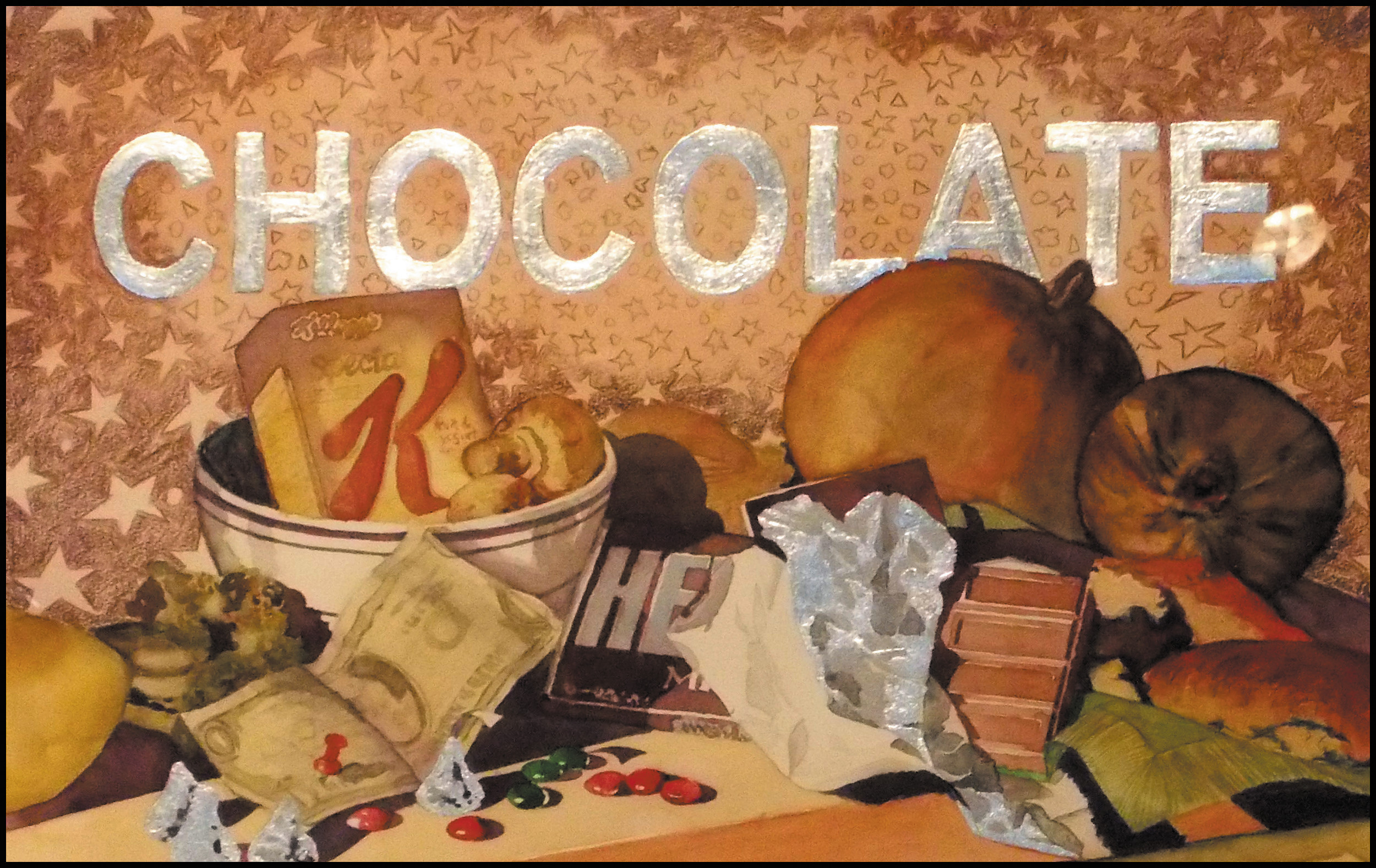 """The 6th Food Group"" by S. Williams was awarded First Place in the ""Art Unhinged"" exhibit at the Depot Art Gallery. The juror was Denver artist Jackie McFarland."