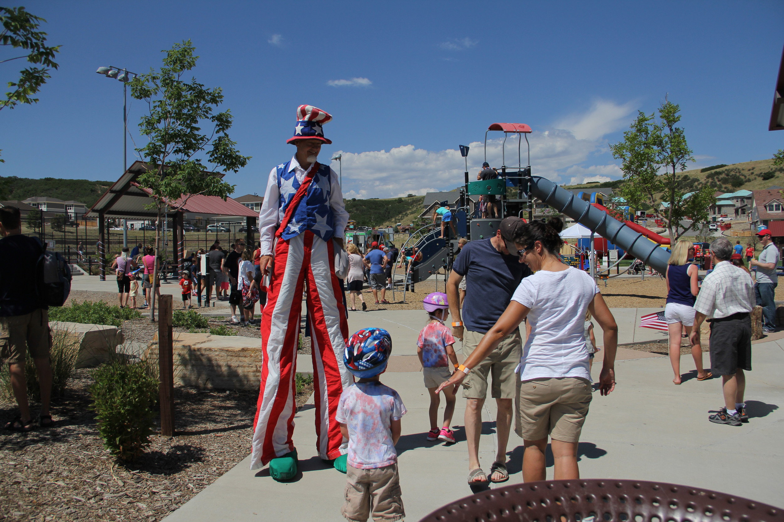 Uncle Sam greets visitors to Bison Park as Castle Rock residents get together to celebrate the Fourth of July.