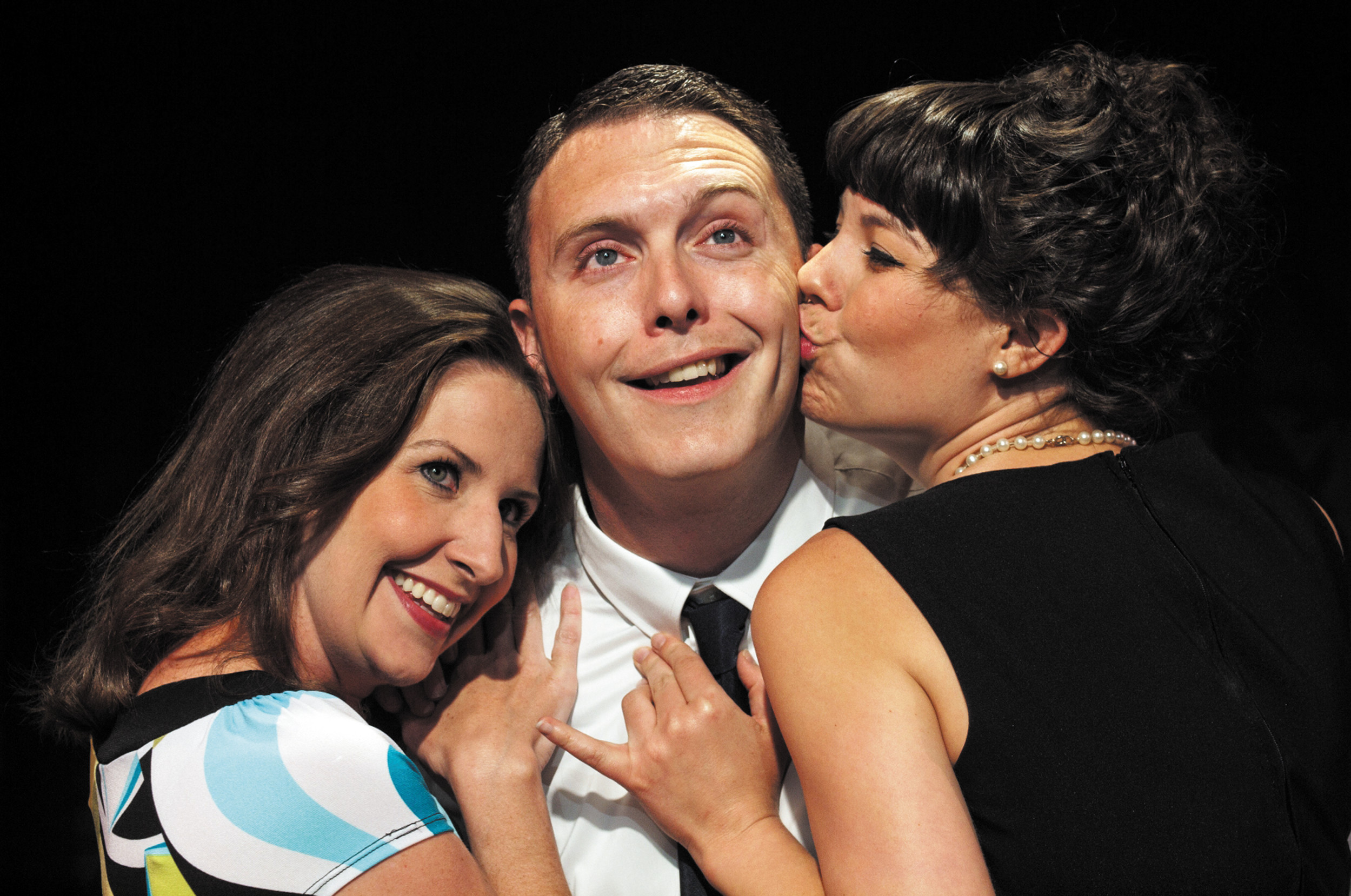 "From left, Gwendolyn (Missy Moore), Felix (James O'Hagan-Murphy) and Cecily (Samara Bridwell) take to the stage for Neil Simon's comedic masterpiece, ""The Odd Couple."" Courtesy photo"