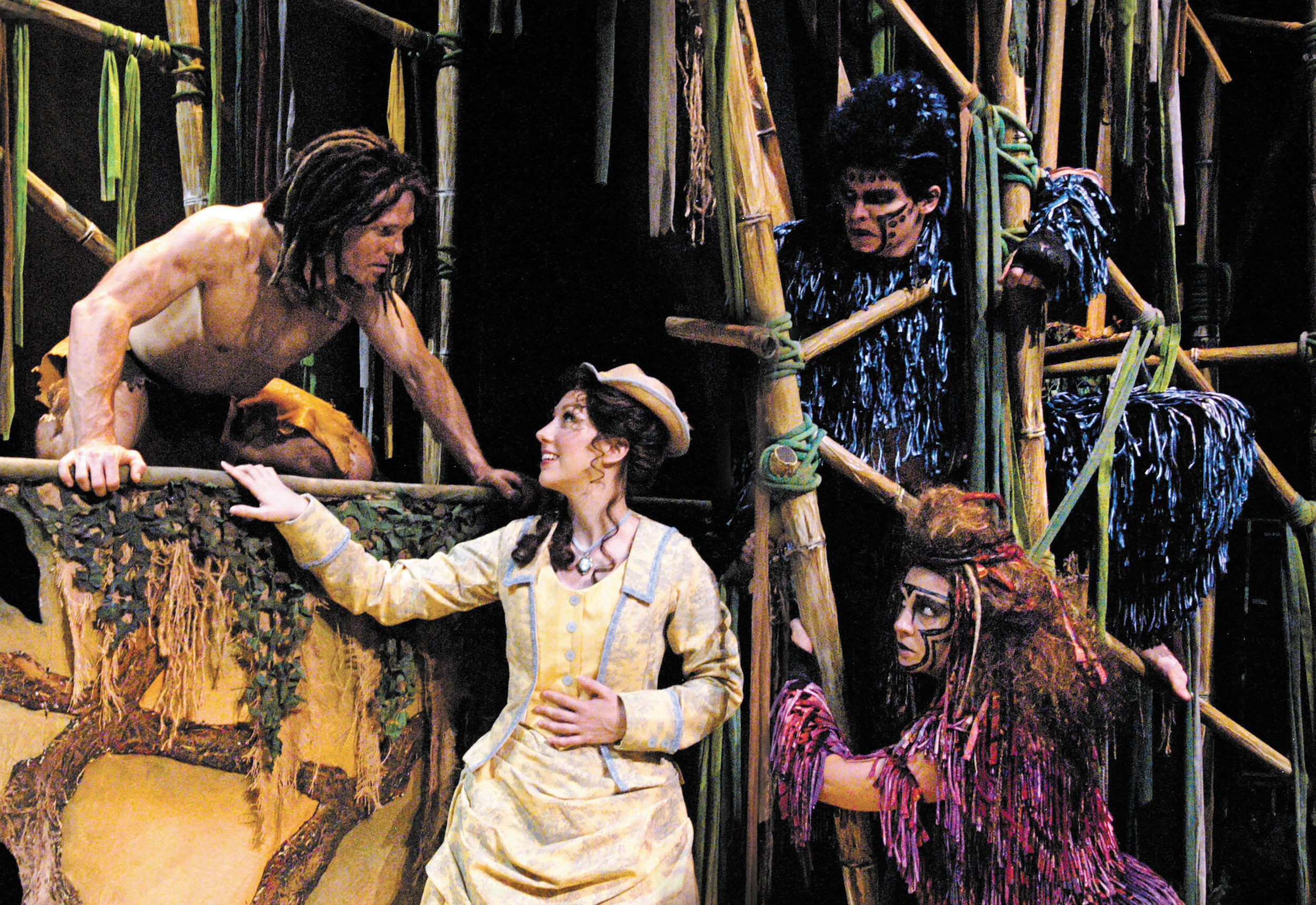 "Clockwise: Brian Oglevie (Tarzan), Andrew Russell (Terk), Shannan Steele (Kala) and Jennifer Lorae (Jane) meet on Arvada Center's jungle stage in the ""Tarzan, the Musical"" production. Photo by P. Switzer"