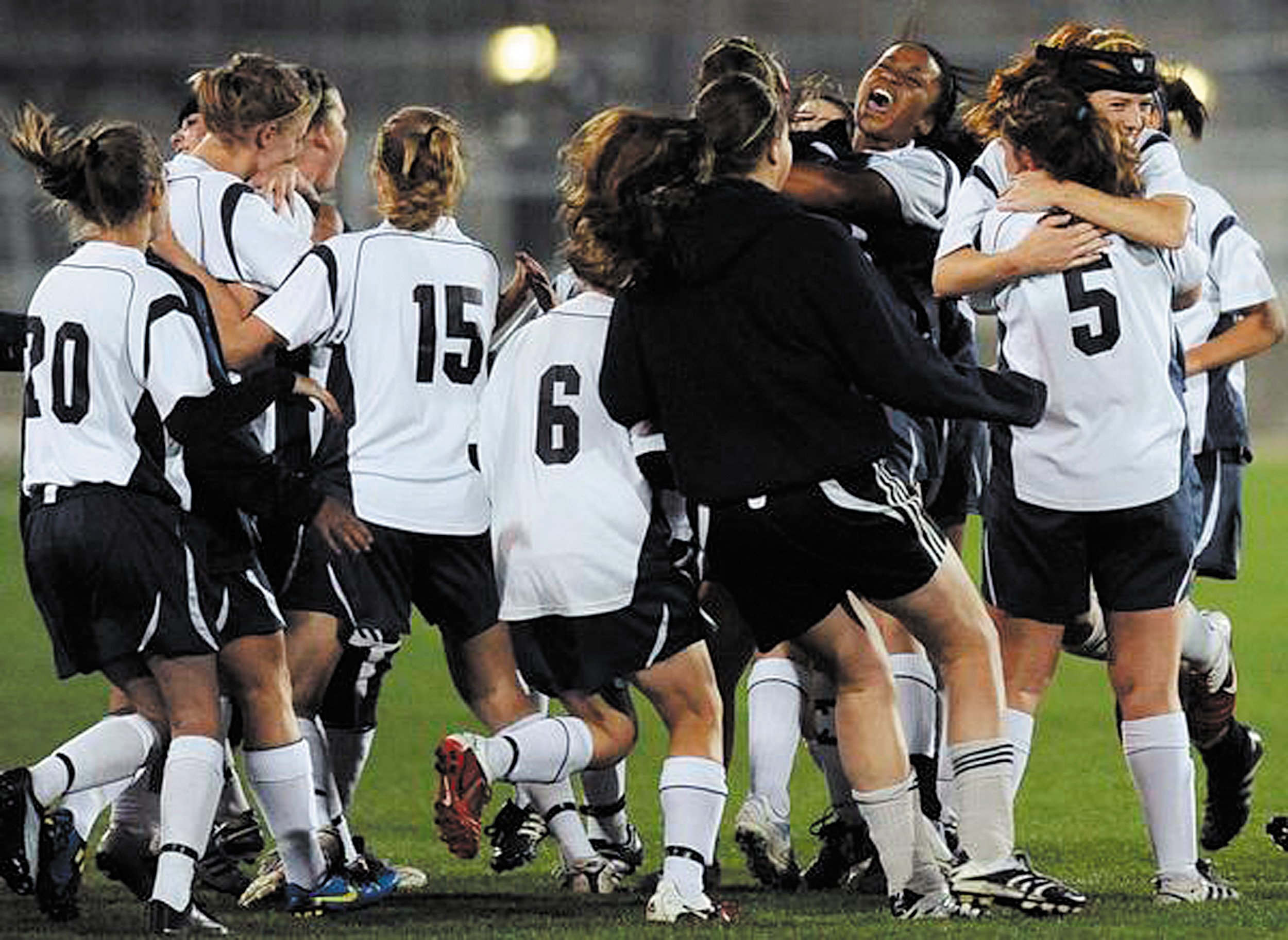 All of The Classical Academy athletic teams are moving to the Class 4A Metro League this fall, with the exception of football. A surge in enrollment at the high school level in recent years has forced the move up. TCA girls are seen here celebrating a 3A soccer championship from a few year's ago. Courtesy photo