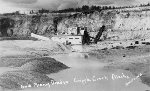 Hydraulic placer gold mining dredge, known as Dredge #10. Built by the Fairbanks Exploration Company (a subsidiary of the U.S. Smelting, Refining & Mining Co.) in 1940. Date June 22, 1950, Western History/Genealogy Dept., Denver Public Library.