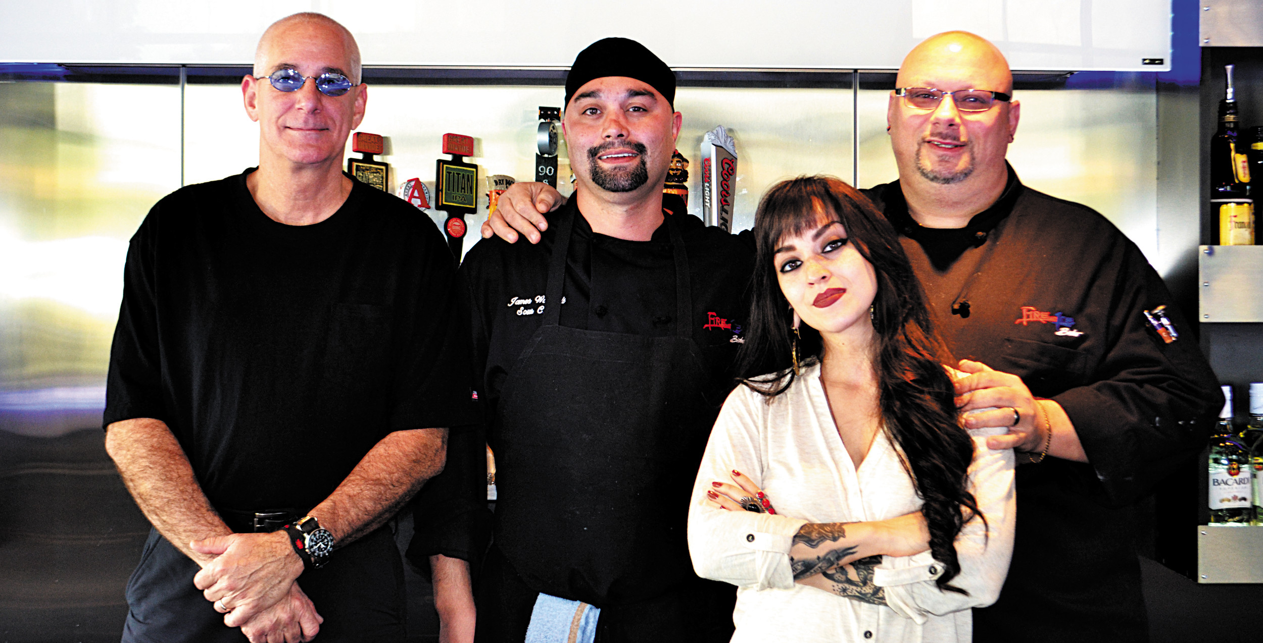 Bar manager Todd Dickler, sous chef James Wamboldt, general manager Christina Hunt and executive chef Rob Rotella, left to right, make up the executive and creative team behind Fire and Ice Bistro, in Olde Town Arvada.