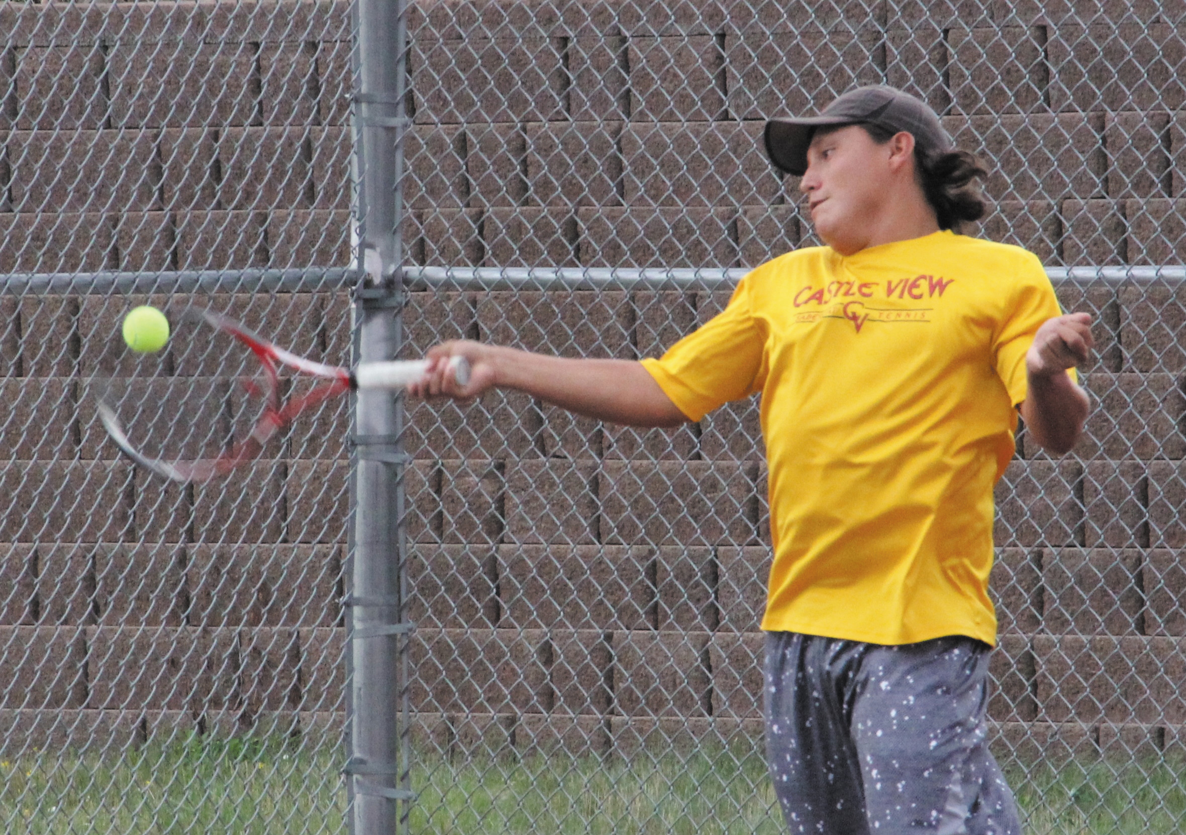 Castle View senior Cody Carlton works on his forehand Aug. 15 at practice. Carlton, who played at No. 1 singles for the Sabercats a year ago, is expected to hold down that position again this fall.