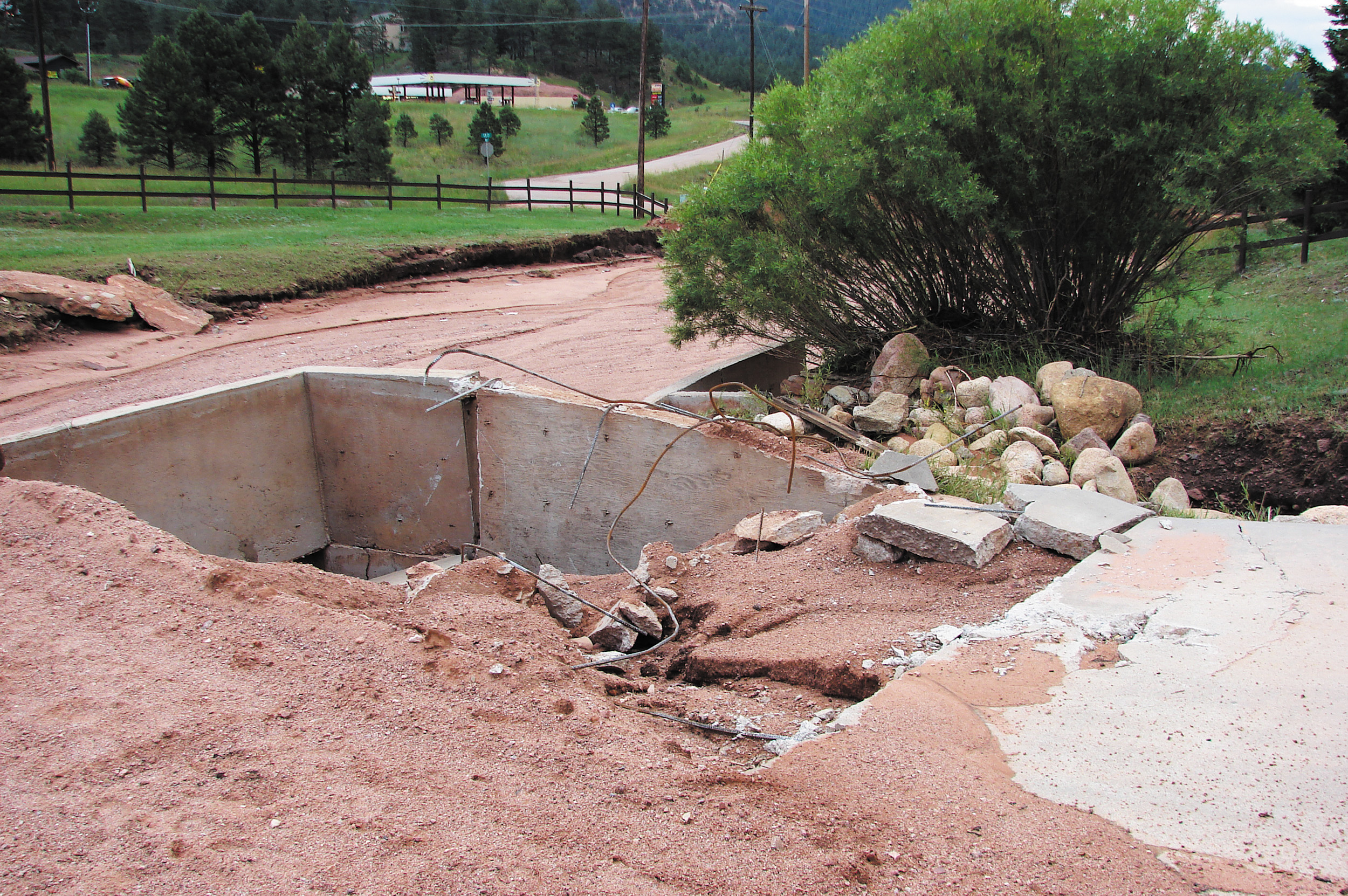 This bridge at 431 Country Road 21 on Fountain Creek sustained major damage from the two-day storm in July. Courtesy photo
