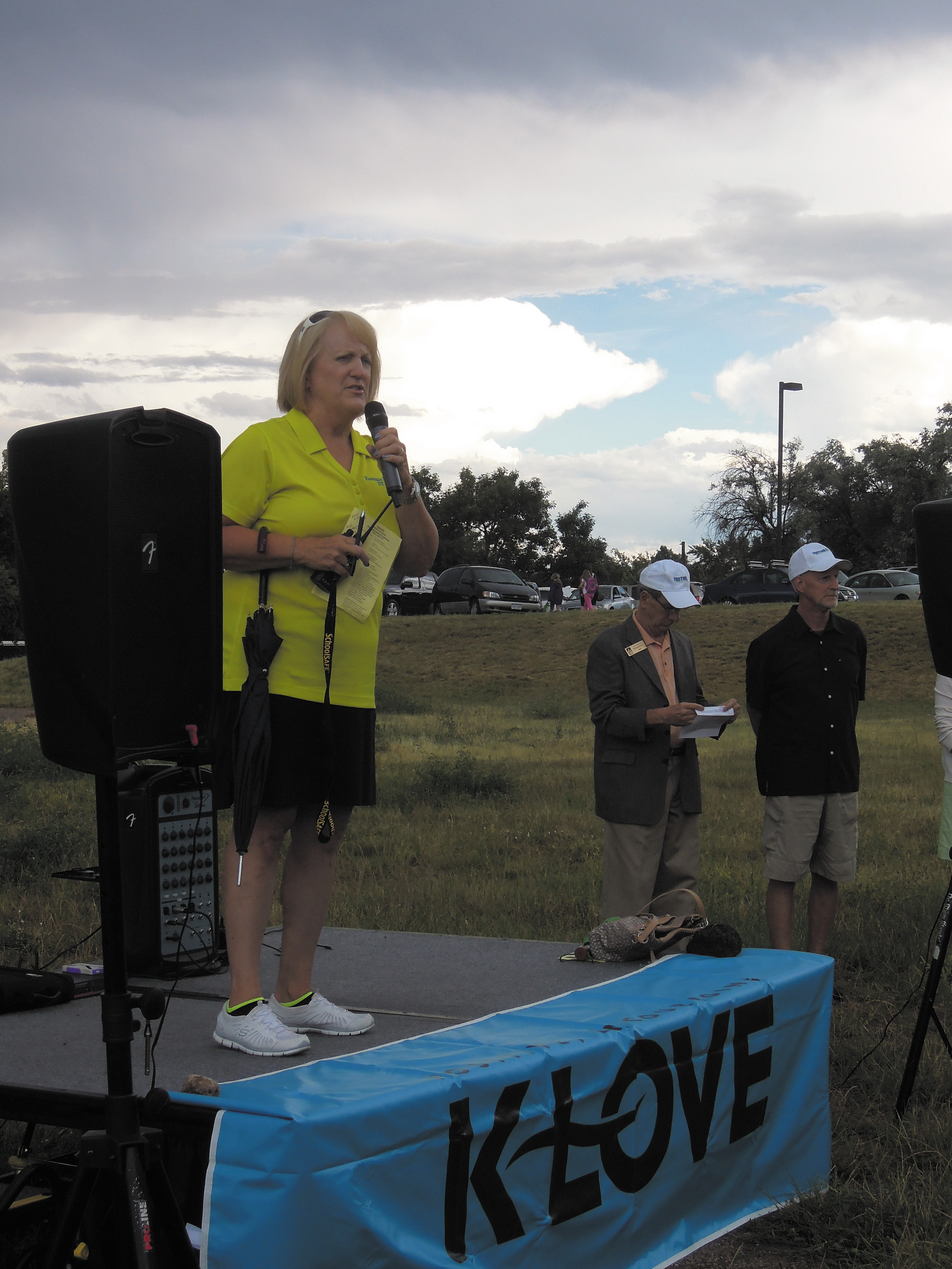 Foothills Elementary Principal Susan Borzych address the crowds at the groundbreaking for the Field of Dreams project.