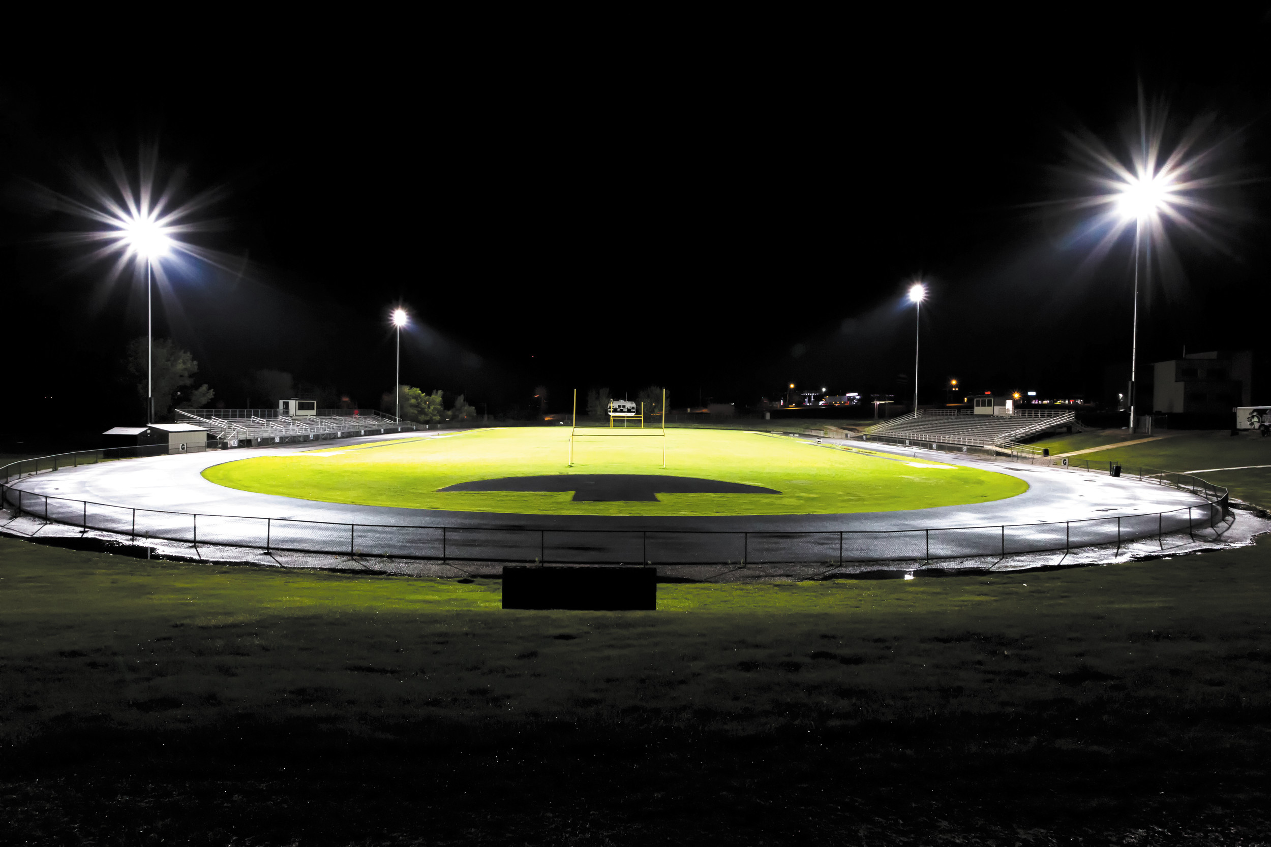 Newly installed lights at Ditirro Stadium are set for the football season.