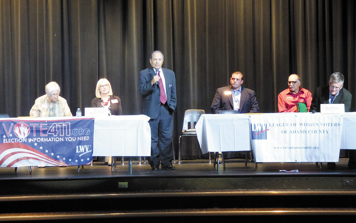 Candidates vying for a spot on the Adams County Board of Commissioners shared their views during County Candidate Meeting Sept. 30 hosted by the League of Women Voters of Adams County at Skyview Campus in Thornton. From left, Jan Pawlowski, Wilma Rose, Manuel Solano, Steve O'Dorisio, Joe Domenico and Erik Hansen. Photo by Tammy Kranz?