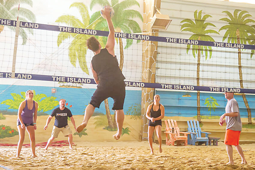 Players can participate in a variety of beach volleyball games at The Island in Denver.