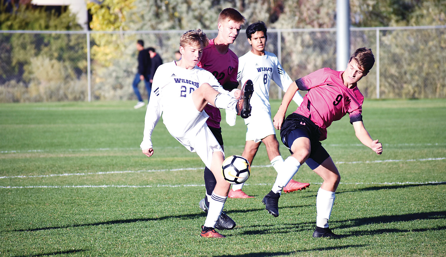 Arvada West sophomore Eli Ross (20) gave the Wildcats a 1-0 lead early in the second half against rival Ralston Valley on Oct. 4 at the North Area Athletic Complex in Arvada. A-West took a 2-0 victory.