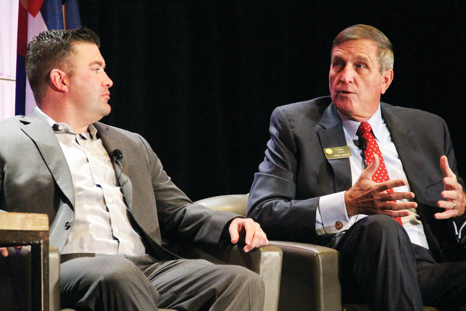 Left, state House Minority Leader Patrick Neville, R-Castle Rock, and Senate Assistant Minority Leader John Cooke, R-Greeley, on stage Jan. 3 at the sixth annual Business Legislative Preview. The event, put on by the Denver Metro Chamber of Commerce, the Colorado Competitive Council and the Denver Business Journal, was held at the Hyatt Regency Denver hotel in downtown Denver.